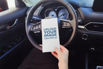 Mockup of a Woman Reading a Flyer in Her Car 4510-el1