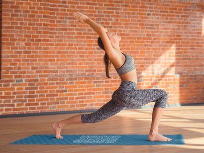 Yoga Mat Mockup Featuring a Woman Doing a Warrior Pose 37107-r-el2