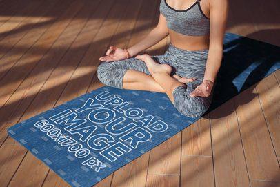 Mockup of a Young Woman Meditating on a Yoga Mat 37105-r-el2