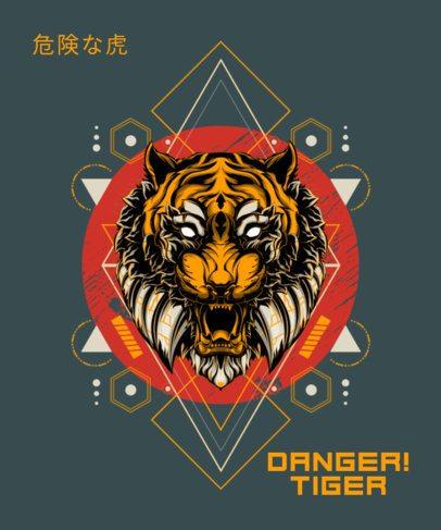 Trendy T-Shirt Design Maker Featuring a Mad Tiger 1792a-el1