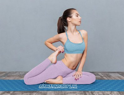 Yoga Mat Mockup Featuring a Serious Woman in a Seated Pose 37228-r-el2