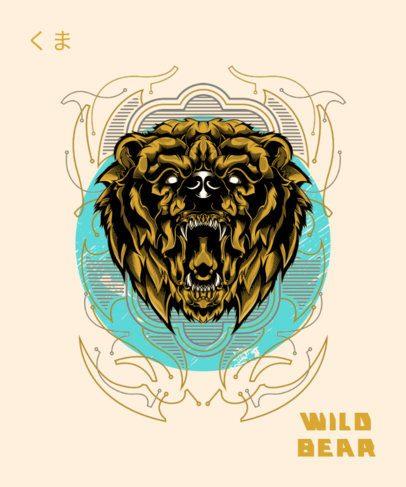 T-Shirt Design Template Featuring an Angry Wild Bear 1792d-el1
