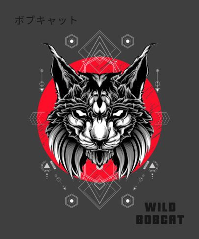T-Shirt Design Maker Featuring a Wildcat Illustration with Geometric Shapes 1792e-el1