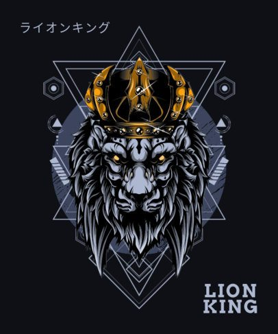 Illustrated T-Shirt Design Generator Featuring a Lion With a Crown 1792h-el1