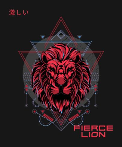 T-Shirt Design Maker Featuring a Fierce Lion Illustration and Abstract Graphics 1792m-el1