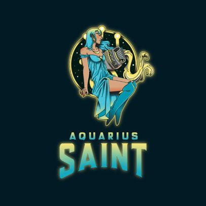 Logo Generator Based on Aquarius Sign with the Graphic of a Woman 3348d