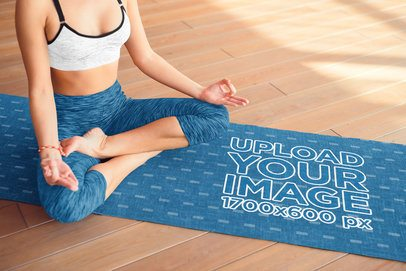 Mockup Featuring a Woman Meditating on a Sublimated Yoga Mat 37109-r-el2
