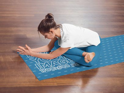 Yoga Mat Mockup Featuring a Woman Stretching 37223-r-el2