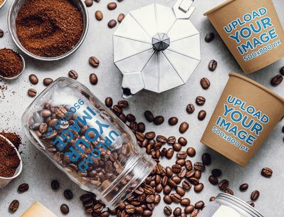 Coffee Cup Mockup Featuring a Glass Jar with Spilled Beans 36864-r-el2