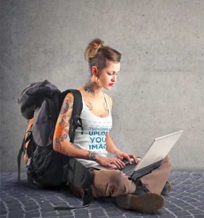 Tank Top Mockup Featuring a Digital Nomad 37605-r-el2