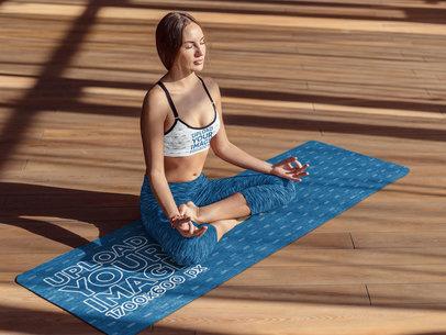 Mockup of a Mindful Woman Meditating on a Yoga Mat 37104-r-el2