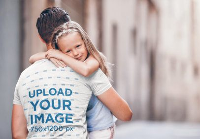 Back-View T-Shirt Mockup of a Dad Carrying Her Daughter 37456-r-el2