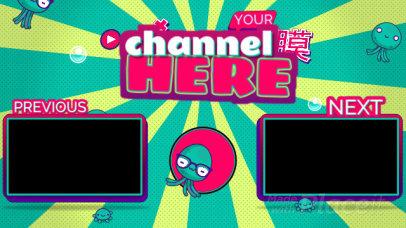 Cartoonish YouTube End Card Video with Kawaii Characters1244-el1