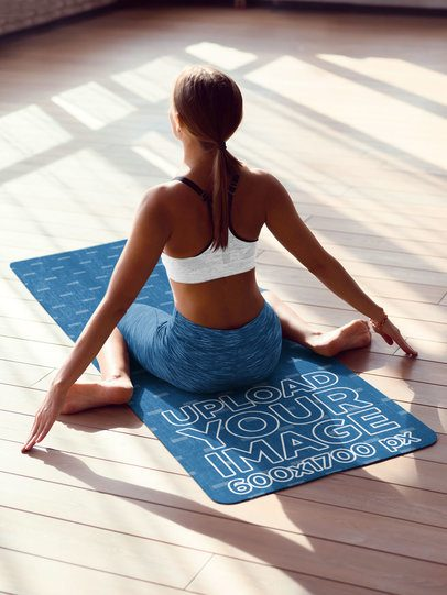 Yoga Mat Mockup Featuring a Woman Facing the Sunlight 37102-r-el2