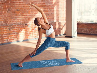 Yoga Mat Mockup Featuring a Woman Doing a Pose 37106-r-el2