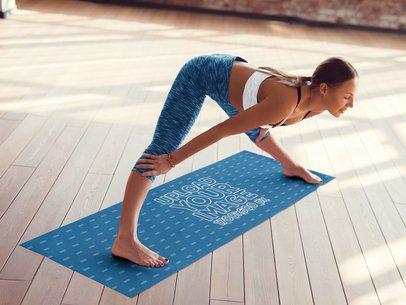 Yoga Mat Mockup of a Woman Doing a Forward Bend 37108-r-el2