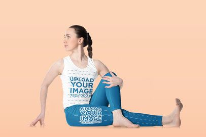 Tank Top and Leggings Mockup of a Woman Doing Yoga Against a Customizable Background 38273-r-el2