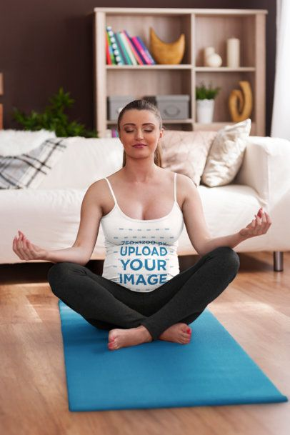 Tank Top Mockup of a Pregnant Woman Meditating in Her Living Room 37064-r-el2