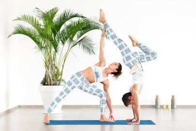 Mockup of a Woman with Leggings and Sports Bra and a Man with Sweatpants Doing Yoga 37289-r-el2