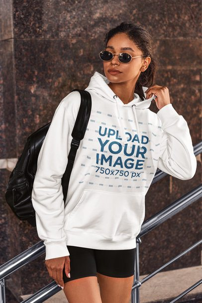 Hoodie Mockup Featuring a Woman With an Athleisure Style Posing by a Metal Handrail 4856-el1