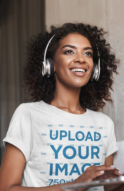 Mockup of a Woman with Headphones Wearing a T-Shirt 38805-r-el2
