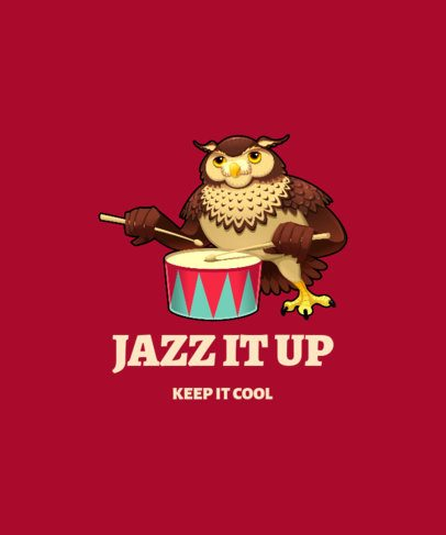 Illustrated T-Shirt Design Maker Featuring an Owl with Drumsticks 1965c-el1