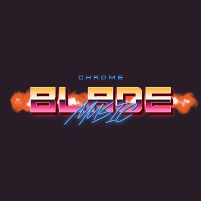 Logo Maker with an 80's Style Featuring Chromed Typeface 3398b