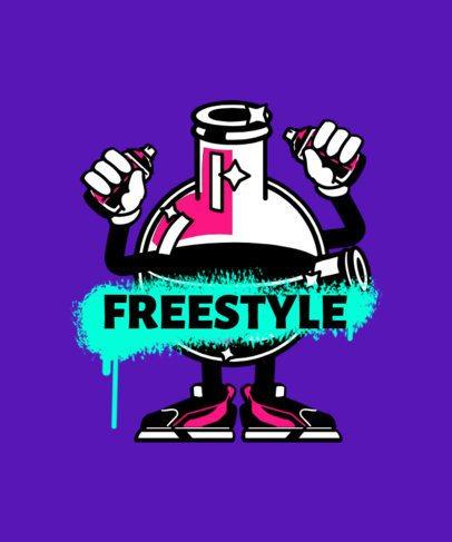 T-Shirt Design Maker Featuring a Cartoon Character Holding Graffiti Paint Cans 2667g