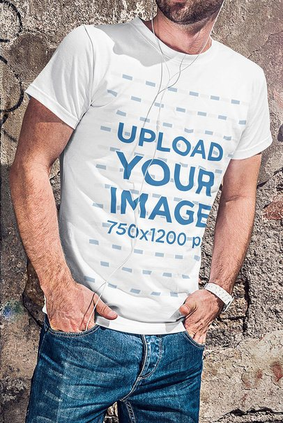 Cropped Face Mockup of a Man Wearing a Crew Neck T-Shirt and Listening to Music 4801-el1