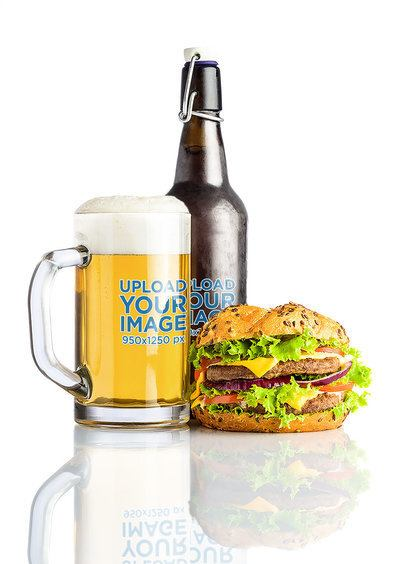 Mockup of a Beer Glass and a Bottle Next to a Juicy Burger 35530-r-el2