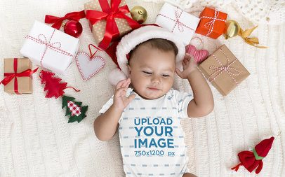 Onesie Mockup of a Baby Surrounded By Christmas Presents 34940-r-el2