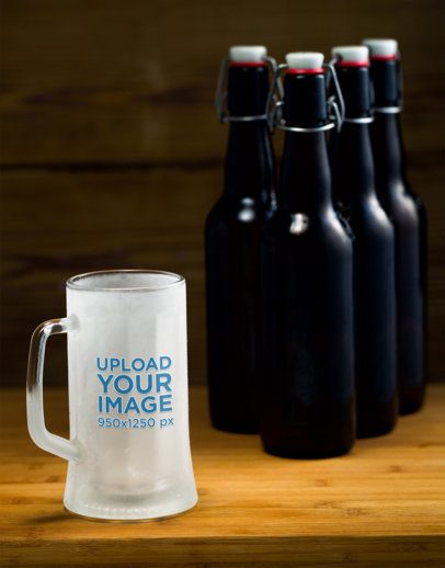 Mockup of a Frozen Beer Glass Featuring Some Bottles 35988-r-el2
