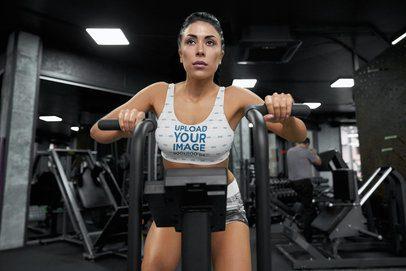 Sports Bra Mockup Featuring a Woman Training at a Gym 38548-r-el2