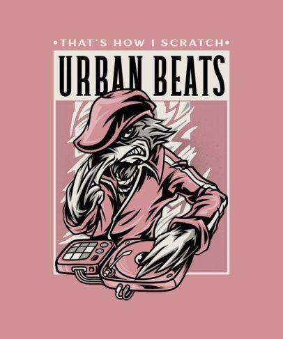 T-Shirt Design Creator Featuring an Illustrated DJ Animal Character 2082b-el1