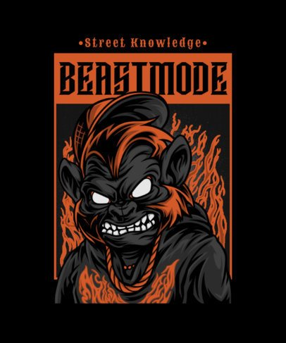 Street-Style T-Shirt Design Template Featuring a Raging Beast Character Against Flames 2082e-el1