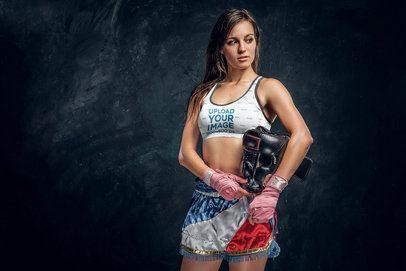 Sports Bra Mockup of a Woman Ready to Box 38556-r-el2
