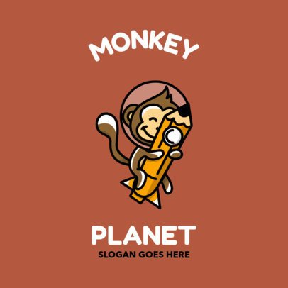 Logo Template Featuring a Cute Monkey With an Astronaut Helmet 2093b-el1
