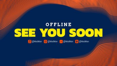 Twitch Offline Banner Template for Musicians Featuring an Abstract Wavy Frame 2706b