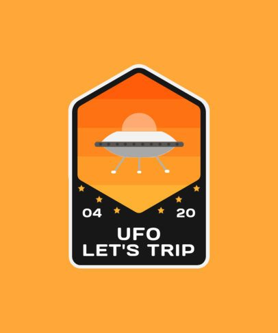 Emblem T-Shirt Design Template Featuring a Flying Saucer Illustration 2087e-el1