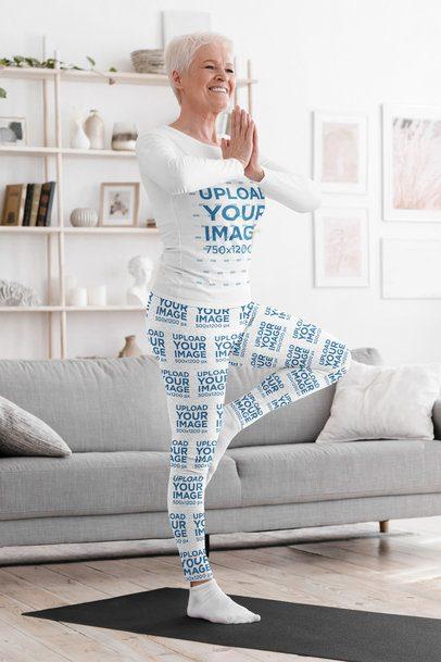 Long-Sleeve Tee and Leggings Mockup of a Senior Woman Doing Yoga 38661-r-el2