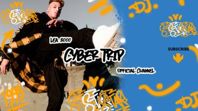 YouTube Banner Maker Featuring Graffiti Doodles for a Musician Channel 2704c
