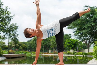 Tank Top Mockup of a Female Yogi with Nature in the Background 38482-r-el2