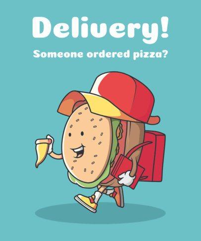 T-Shirt Design Creator Featuring a Smiling Delivery Burger Character 2190e-el1