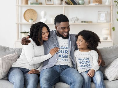 Long Sleeve Mockup Featuring a Family Hugging at Home 39228-r-el2