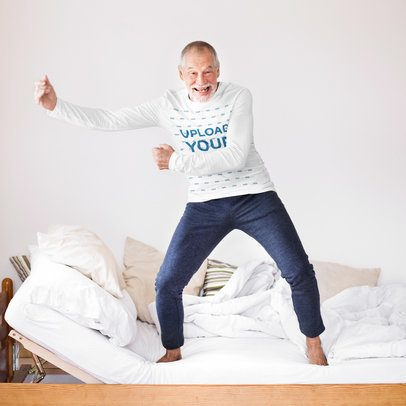 Long Sleeve Tee Mockup Featuring a Senior Man Standing on a Bed 39358-r-el2