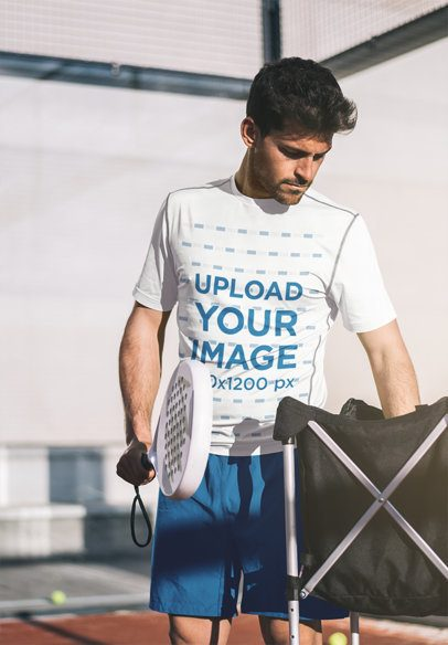 T-Shirt Mockup of a Tennis Player Training 37974-r-el2
