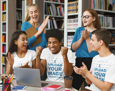 T-Shirt Mockup of a Group of Students Celebrating in the Library 39192-r-el2