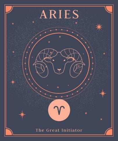 Astrology T-Shirt Design Maker Featuring a Ram Graphic 2722f
