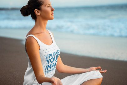 Tank Top Mockup Featuring a Woman Meditating Near the Ocean 38738-r-el2