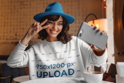 Sweatshirt Mockup of a Trendy Woman with Short Hair Taking a Selfie 39037-r-el2